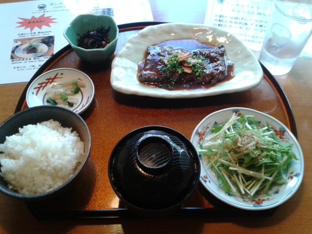 Whale steak lunch