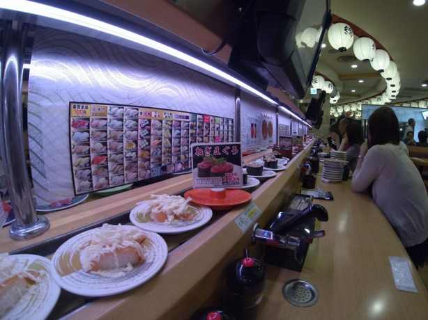 I wouldn't even know how to spell this place's name, that's how Japanese it is. But it was awesome. There must be 1/4 mile of sushi track in here.